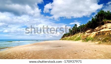 Baltic sea shore. Ventspils, Latvia - stock photo