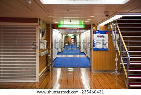 BALTIC SEA, SWEDEN - SEPTEMBER 17: A ferry Stena Line interior on September 17, 2011 on the Baltic Sea - stock photo