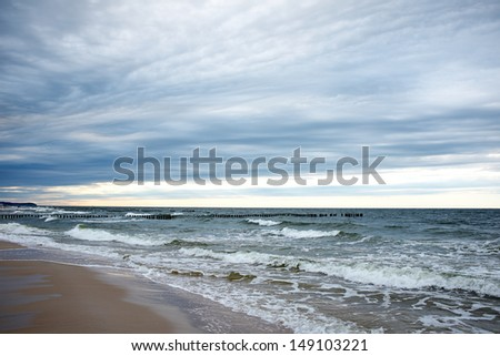 Baltic Sea white sand beach  - stock photo