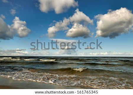 Baltic sea with cloudy sky.