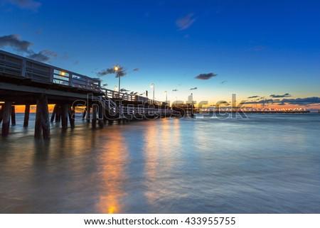 Baltic sea with Molo (pier) in Sopot at dawn, Poland - stock photo