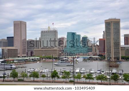 Baltimore Inner Harbor skyline, Baltimore, Maryland, USA - stock photo