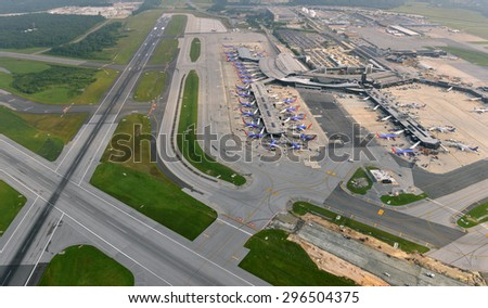 Baltimore, June 27--Aerial view of Baltimore Washington International Airport shows taxiway improvements underway to improve safety and reduce congestion, as of June 27, 2015.   - stock photo