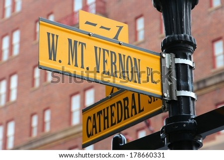 Baltimore, Maryland in the United States. Famous landmark - Mount Vernon Place. - stock photo