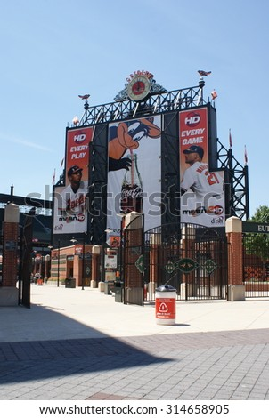 Baltimore, Maryland - July 5, 2010 - The entrance to Camden Yards, home of the Baltimore Orioles.