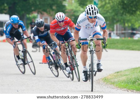 BALTIMORE, MARYLAND - MAY 17: Cyclists compete at BikeJam on May 17, 2015 in Baltimore, Maryland - stock photo