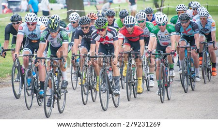 BALTIMORE, MARYLAND - MAY 17: Cyclists compete in the men's competition at BikeJam on May 17, 2015 in Baltimore, Maryland - stock photo