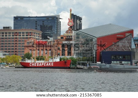 BALTIMORE, MARYLAND - SEP 1: The National Aquarium and the Lightship Chesapeake at the Inner Harbor in Baltimore, Maryland, as seen on Sep 1, 2014.  - stock photo