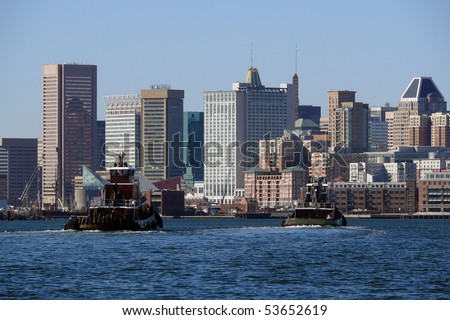 Baltimore Maryland waterfront on a bright sunny morning. - stock photo