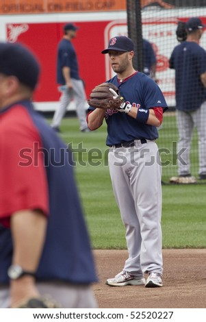 BALTIMORE - MAY 1: Dustin Pedroia of the Boston Red Sox waits on the field before a game at Camden Yards on May 1, 2010 in Baltimore, Maryland - stock photo