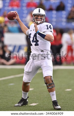 BALTIMORE - OCTOBER 24: Penn State Nittany Lions quarterback Christian Hackenberg (14) throws a pass from the pocket during the NCAA football game against Maryland October 24, 2015 in Baltimore.  - stock photo