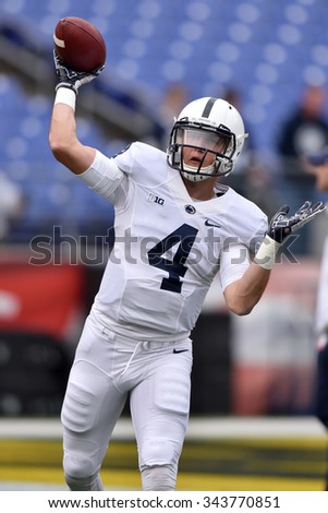 BALTIMORE - OCTOBER 24: Penn State Nittany Lions quarterback Tommy Stevens (4) throws a pass during the NCAA football game against Maryland October 24, 2015 in Baltimore.