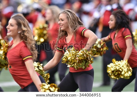 BALTIMORE - OCTOBER 24: The University of Maryland dance team performs during the NCAA football game against Penn State October 24, 2015 in Baltimore.  - stock photo