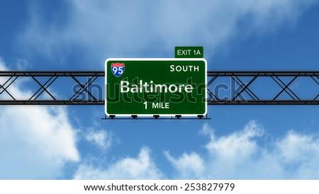 Baltimore USA Interstate Highway Sign 3D Illustration - stock photo