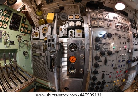 BALTIMORE, USA - JUNE 21 2016 - inside TORSK inside ii world war submarine view detail close up control panels weapons engines portholes