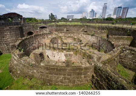 Baluarte de San Diego the circular fort one of the oldest stone fortifications on Intramuros district of Manila, Philippines. - stock photo