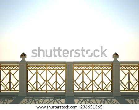 Balustrade against the blue sky - stock photo