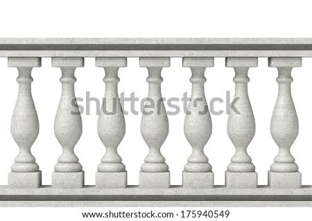 Balustrade Pillars on a white background - stock photo