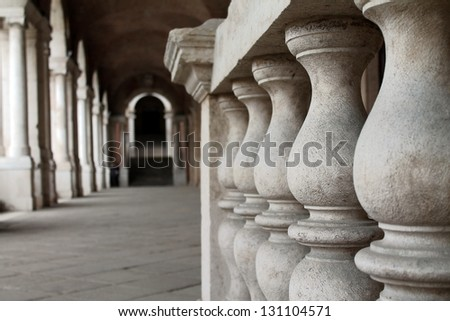 balustrades in old building - stock photo