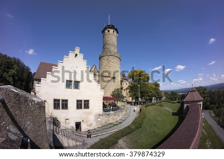 Bamberg, Germany - August 28, 2014: Street view of a old historic town Bamberg in Bavaria, Germany.