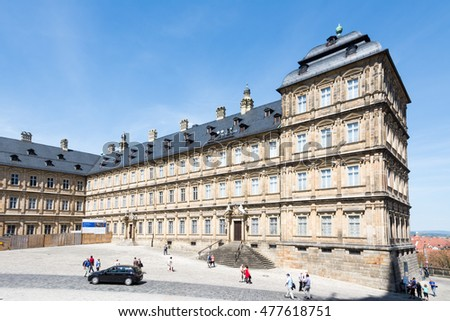 BAMBERG, GERMANY - MAY 6: Tourists at Neue Residenz in Bamberg, Germany on May 6, 2016. The Neue Residenz was the former residence of the bishops of Bamberg.