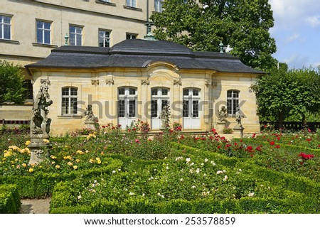 Bamberg, Germany, Residenz palace garden - the famous rose garden. The historic center of Bamberg is UNESCO World Heritage Site - stock photo