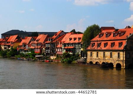 Bamberg pier and embankment, Bavaria, Germany - stock photo