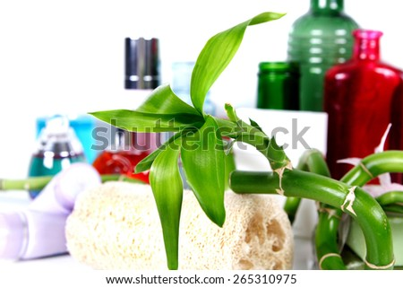 bamboo and beauty products  - stock photo