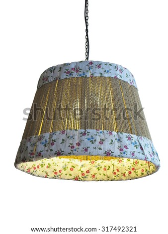 Bamboo and cloth lampshade isolated over white background - stock photo