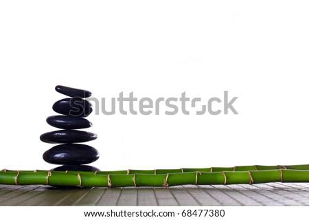 Bamboo and zen stones - stock photo