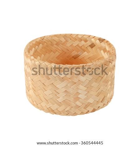 bamboo basket handmade isolated on white background - stock photo