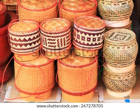 bamboo basket handmade Thai style  - stock photo