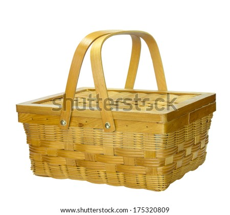 Bamboo basket with lid isolated on white background - stock photo