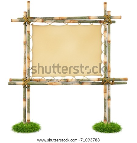 Bamboo billboard with a stretched cloth. isolated on white. with clipping path. - stock photo