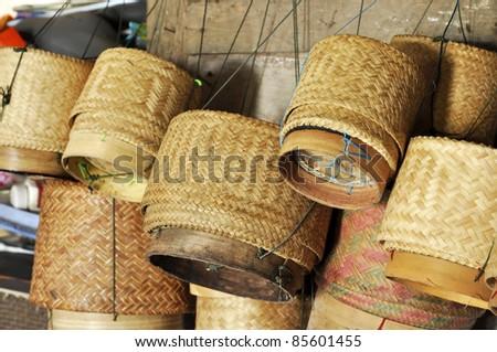 Bamboo Box Thailand Sticky Rice Local - stock photo