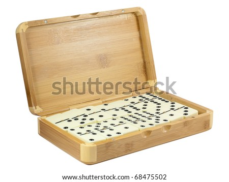 Bamboo box with domino. Isolated on white background with clipping path. - stock photo