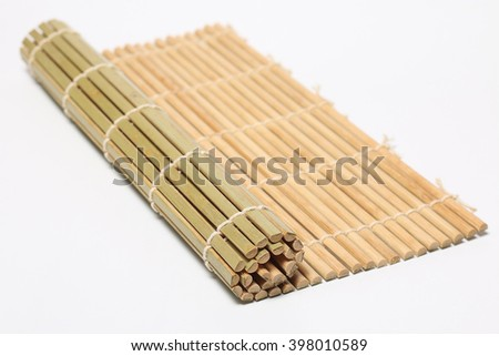 Bamboo brown straw on white background