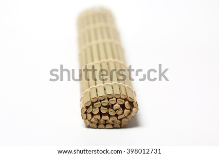 Bamboo brown straw on white background - stock photo