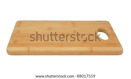 Bamboo chopping board isolated on white - stock photo
