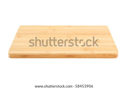 Bamboo chopping board isolated on white background - stock photo