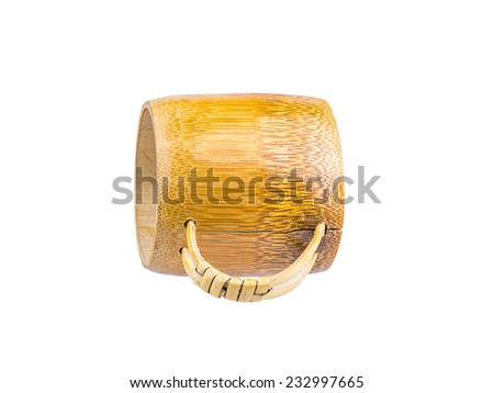 Bamboo cup isolated on white background work with path.