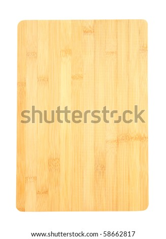 Bamboo cutting board isolated on white - stock photo