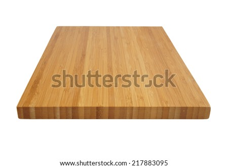 Bamboo cutting board isolated on white background  - stock photo