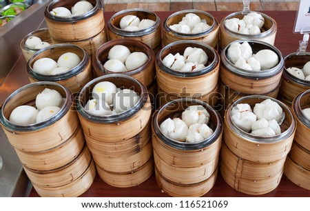 Bamboo Dim Sum steamer - stock photo