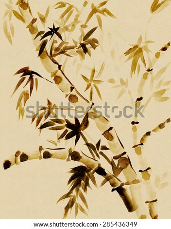 Bamboo  drawn in traditional east style India ink - stock photo