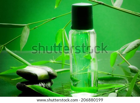 bamboo essential oil with bamboo plant