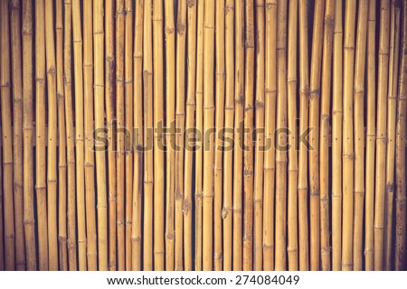 bamboo fence background vintage color - stock photo