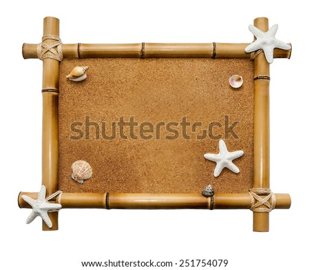 Bamboo frame isolated on white background   - stock photo