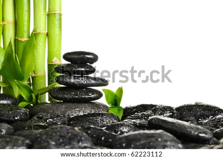 Bamboo frame  on the white background - stock photo