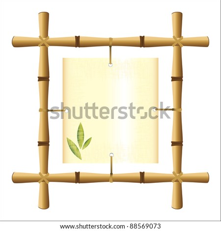 bamboo frame with a blank sheet of papyrus - stock photo